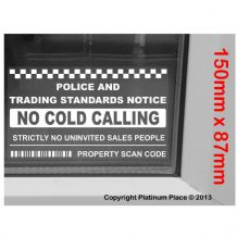 1 x Inside Window Version-No Cold Callers,Salesman Calling Warning House Sticker-Self Adhesive Vinyl Sign